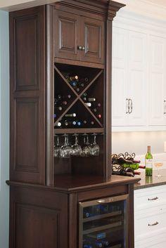 Wine bar in formal white kitchen - Mullet Cabinet traditional kitchen Küchen Design, House Design, Design Ideas, Bar Designs, Rack Design, Interior Design, Wine Rack Cabinet, Wine Racks, Corner Wine Cabinet