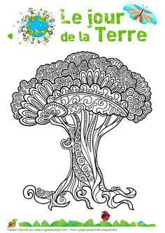 Dessin à colorier d'un arbre impressionnant pour fêter le « Jour de la terre »                                                                                           Plus