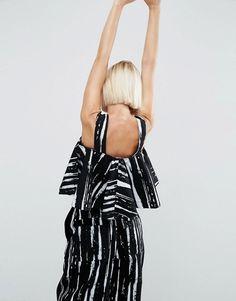 ASOS White | ASOS WHITE Frill Denim Top in Paint Stripe Print
