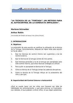 """""""LA TECNICA DE LA """"TORTUGA"""": UN METODO PARA EL AUTOCONTROL DE LA COND…"""