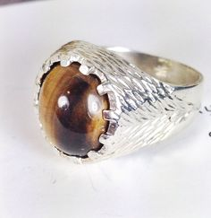 Organic textured silver signet ring with synthetic tiger's eye. A perfect men's style signet ring, sized for a lady! A personal favorite from my Etsy shop https://www.etsy.com/listing/484757379/vintage-sterling-silver-and-synthetic