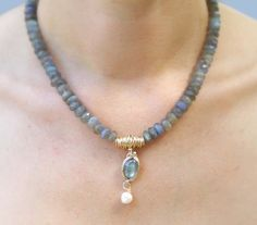 Labradorite gold filled and pearl handcrafted necklace by yifatbareket