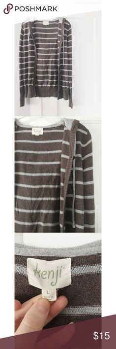 """Anthropologie """"Kenji"""" Sweater Anthropologie """"Kenji"""" Sweater.  Good condition.  Women's size Large.  Brown and bluish/grey stripes.  No missing buttons. Anthropologie Sweaters"""