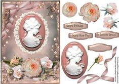 Beautiful pink cameo with roses and babys breath  on Craftsuprint - Add To Basket!