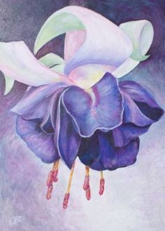 "Saatchi Art Artist Olga Bothova; Painting, ""Fuchsia flower"" #art"