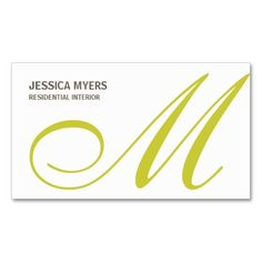 Script Monogram Business Card (Lime) Business Card