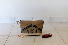 Gold and White Burlap Large Zipper Bag repurposed by LinaandVi