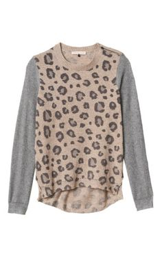Blocked Leopard Pullover Sweater | Rebecca Taylor