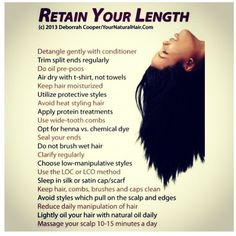 "its-just-my-hair: ""Cool tips on retaining your length! "" its-just-my-hair: ""Cool tips on retaining y Natural Hair Care Tips, Curly Hair Tips, Natural Hair Journey, Natural Hair Styles, Long Hair Styles, 4c Hair, Natural Black Hairstyles, Relaxed Hair Journey, How To Grow Natural Hair"