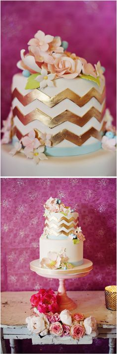 Whimsical Chevron Bridal Shower Cake