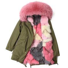 Long Parka Coat with Fox Fur C