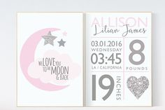 Birth stats wall art, pink silver nursery, we love you to the moon, baby birth stats, pink and silver baby shower, baby girl room decor