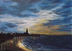 2012 contemporary art by Sharon Douglas  Night lights over Longsands Beach Tynemouth. Painted by Sharon Douglas. www.sharondouglas.weebly.com