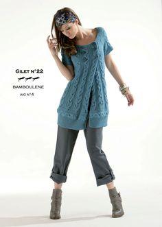 Laines Cheval Blanc Modèle de tricot - Gilet femme - Catalogue Cheval Blanc n°12 - Laine utilisée : BAMBOULENE