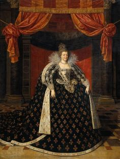 Marie de Medici in coronation dress, by Frans II Pourbus the Younger (1610). The Beau Sancy sits atop the coronation crown    Passed down through the Royal Families of France, England, Prussia and the House of Orange, the 34.98 carat modified pear double rose cut diamond, which experts say came from the Golconda region in India, has been the silent, glittering witness of 400 years of European history. Most notably, the stone sat atop the magnificent crown worn by Marie de Medici in 1610