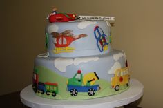 Shower cake for a baby boy.  All decorations made with...