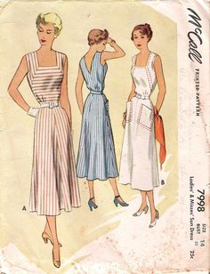 Vintage 1950's Sleeveless Dress, McCall Sewing Pattern #7998, Offered ...