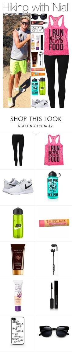"""""""Hiking with Niall"""" by xhoneymoonavenuex ❤ liked on Polyvore featuring NIKE, Victoria's Secret PINK, Kiss My Face, Burt's Bees, Guerlain, Skullcandy, Bebe, Rimmel, Samsung and ZeroUV"""
