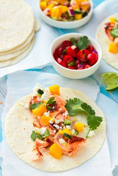 Sweet & Spicy Salmon Tacos with Mango-Cucumber Salsa - really fantastic (made some modifications to salsa - see printout)