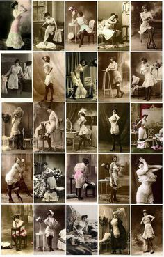 Vintage 1910-1918 Fashion Corsets....women used to be laced up so tight in these corsets that they sometimes endured cracked ribs.....can't imagine!   all for the sake of having a tiny waist....
