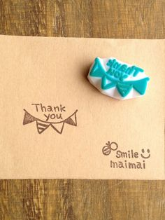 Thank youガーランドはんこ Eraser Stamp, Diy Back To School, Stamp Carving, Handmade Stamps, Cardmaking, Hand Carved, Diy And Crafts, Illustration Art, Stationery