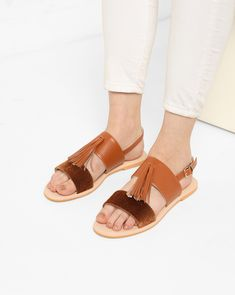 Misfit Panda Brown Dual-Strap Sandals with Buckle Fastening #Brown#Synthetic#Flats#Casual