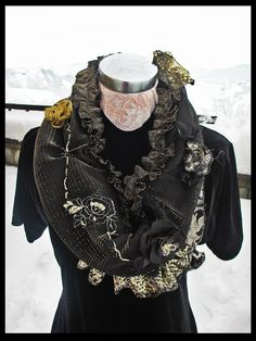 Gold and Black High Fashion Satin Circle Scarf with Sequins