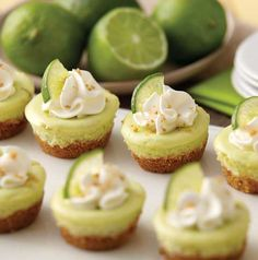 Mini Key Lime Cheesecakes -- The perfect bite-sized treat!