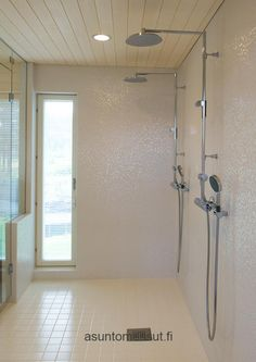 Double shower headed wetroom great for sex with your soulmate husband or just bathing together Bathroom Toilets, Bathroom Wall, Bathroom Ideas, Double Shower Heads, Wall Patterns, Door Handles, New Homes, Interior, Small Bathrooms