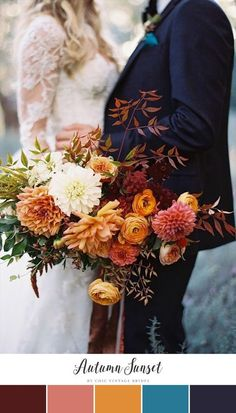 Süße Herbsthochzeits-Farbpalette Sweet Fall Wedding Color Palette Be inspired to plan an autumn wedding with a sweet fall wedding color palette, featuring orange, burgundy, peach, and a navy blue foundation. The Weight Loss Trio - Wedding Colors Bridal Bouquet Fall, Fall Bouquets, Fall Wedding Bouquets, Fall Wedding Flowers, Fall Wedding Colors, Wedding Colour Palettes, Bridal Bouquets, Wedding Bridesmaids, Bridal Flowers