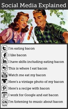 Social Media Explained Simply Using Bacon [infographic]. Bacon makes everything better - even explainations of social media . Social Media Humor, Social Media Marketing, Social Networks, Social Web, Marketing Ideas, Social Media Explained, Blogging, Haha, La Red