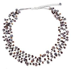 Cultured pearl and garnet beaded necklace, 'Passion' - Cultured pearl and garnet beaded necklace (image 2a)