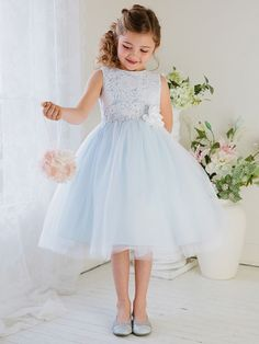 Flower Girl Dress Glamorous Lace tulle Dress with Flower BeltLight Blue Party Dress Special Occasion Dress - Flower girl dresses - Girls Holiday Dresses, Girls Dresses Online, Dresses Kids Girl, Dress Online, Dresses For Children, Party Dresses For Kids, Girls Lace Dress, Tulle Dress, Tulle Lace
