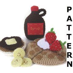 Waffles, Pancakes & Syrup Play Food Crochet Pattern by CrochetNPlayDesigns on Etsy https://www.etsy.com/listing/80372898/waffles-pancakes-syrup-play-food-crochet