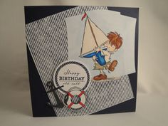 Birthday card made using the LotV 'sailing boat' stamp set and Waltzingmouse 'Ocean Bound' and 'Pinstripe Background' @wmstamps @lilivalley
