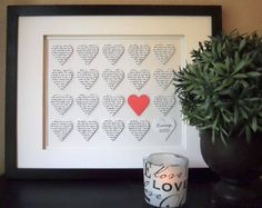 Personalized Wedding Art, Framed Paper Hearts, Collage Art, Paper Heart Anniversary Gift, First Anniversary Paper Art