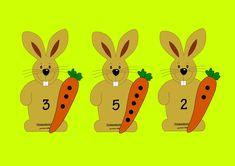 Aktivita pre deti na počítanie do 10. Priraďte ku každému zajkovi mrkvičku podľa čísla na brušku.