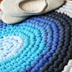 Crochet T-shirt Rug (My grandmother used scrap fabric and old clothes using a crochet hook my grandfather whittled, which I now have, to create these rugs! -bb)