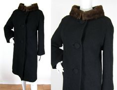 Vintage 1960's Black Wool Mink Fur Collar Button Up by FabVintage, $84.00