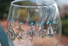 """Hooked on Wine collection """"A Sailor's Life for Me"""" nautical or Navy themed wine glass charms. $16.00, via Etsy.  www.facebook.com/love.lizzie.lou"""