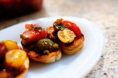 Marinated tomatoes.