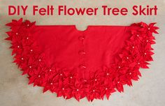Felt FLower Tree Skirt - Stars and Sunshine - Sugar Bee Crafts