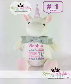 Personalized baby boy gift new born baby birth announcement personalized cubbies unicorn birth announcement plush toy stuffed animal girl tiara keepsake gift negle Gallery