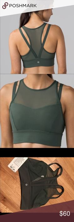 Lululemon Sun Setter bra , size 10 New, nice dark forest color, full luxtreme fabric with mesh panel lululemon athletica Other