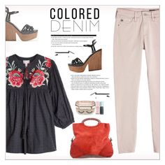"""""""Spring Trend: Colored Denim"""" by alves-nogueira ❤ liked on Polyvore featuring Sergio Rossi, AG Adriano Goldschmied, True Religion, Sephora Collection, Arche, coloredjeans and polyvoreeditorial"""
