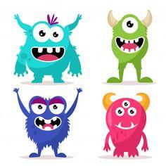 Set of cute monsters character Premium Vector Cartoon Monsters, Cute Monsters, Little Monsters, Happy Monster, Monster Face, Easy Halloween Drawings, Halloween Fun, Book Corner Display, Drawing For Kids