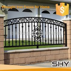 Source Steel fence design,steel fences and gates,steel fencing manufacturers on . Fence Gate Design, Steel Gate Design, Iron Gate Design, House Gate Design, Railing Design, Wrought Iron Security Doors, Wrought Iron Fences, Concrete Fence Wall, Front Wall Design