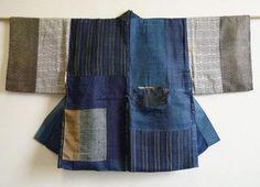 Japanese Embroidery Kimono Sri Threads: boro han juban, half under-kimono Kimono Japan, Japanese Kimono, Japanese Style, Japanese Outfits, Japanese Clothing, Boro Stitching, Altered Couture, Weaving Textiles, Japanese Textiles