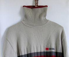 90s Diesel men's turtleneck sweater Grey Sweater by artwardrobe, $32.00