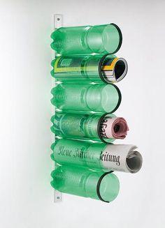 porta revista com garrafas de PET